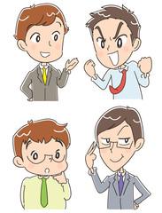 個性的な男性(ビジネスマン)グループのイラスト