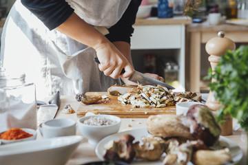 Cook Chops Mushrooms