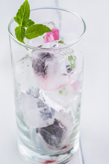Ice cubes with fresh berries.