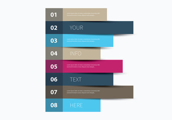 Eight Section Horizontal Bar Chart Infographic Layout