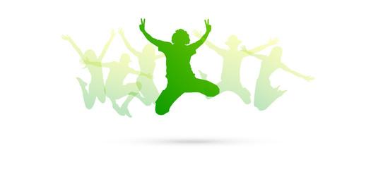 saltare, silhouette, divertimento, gioco, amici
