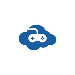 cloud games icon vector logo