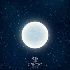 Glowing milky full moon in space. Many luminous stars. Realistic space