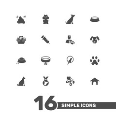 Set Of 16 Animals Icons Set.Collection Of Neckband , Food , Injection Elements.