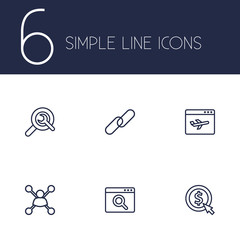 Set Of 6 Search Outline Icons Set.Collection Of Scan, Url, Stock Exchange And Other Elements.
