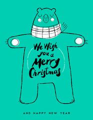 Christmas and new year hand drawn bear art card