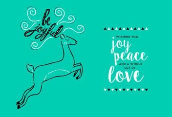 Merry Christmas hand drawn deer greeting card