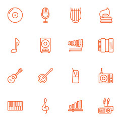 Set Of 16 Music Outline Icons Set.Collection Of Musical Sign, Audio Level, Guitar And Other Elements.