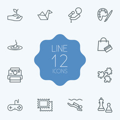 Set Of 12 Hobbie Outline Icons Set.Collection Of Chess, Stamps, Puzzle And Other Elements.
