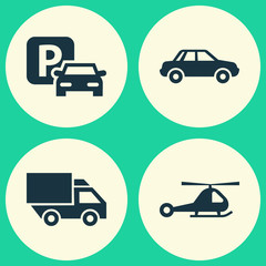 Shipment Icons Set. Collection Of Road Sign, Chopper, Automobile And Other Elements. Also Includes Symbols Such As Van, Helicopter, Airplane.