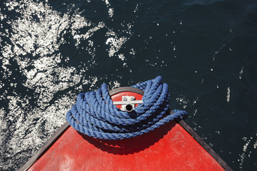 Overhead view of rope bundle on ship's bow