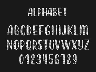 Chalk hand drawn latin modern calligraphy brush alphabet of capital letters. Vector