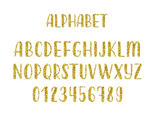 Gold glitter hand drawn latin modern calligraphy brush alphabet of capital letters. Vector