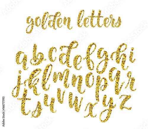 Gold glitter hand drawn latin modern calligraphy brush alphabet of
