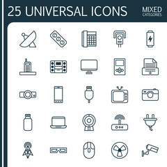 Icons Set. Collection Of Cctv, Extension Cord, Socket And Other Elements. Also Includes Symbols Such As Security, Rotor, Boombox.