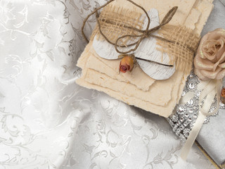 letters and books in the vintage arrangement