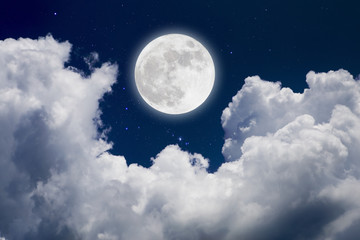 Full moon  over cloud background. Romantic concept.