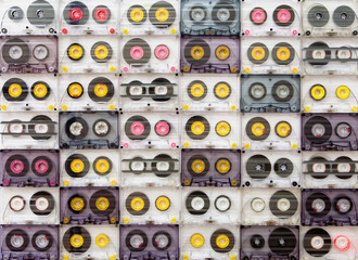 Colorful cassette tapes from above