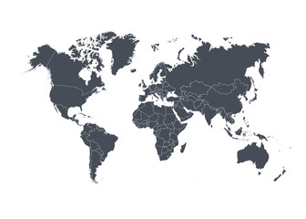 World map with countries isolated on white background. Vector illustration.