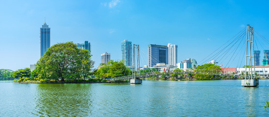 Panorama of Beira lake in Colombo