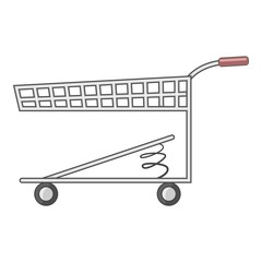 Shopping cart with spring icon, cartoon style