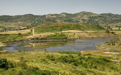 Petroleum pumping polluted landscape in Albania