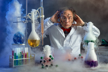 frightened scientist front of experiment that exploded