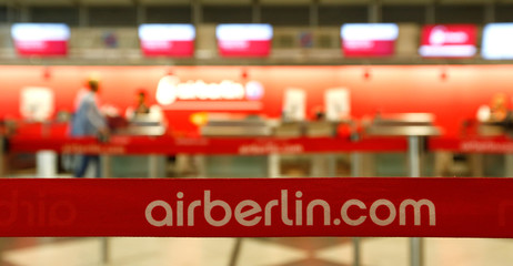Airberlin sign is seen at Munich airport