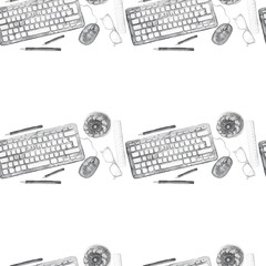 Seamless background pattern of objects painted watercolor office equipment, tools, worktable on a theme September 1, study, knowledge, on a white background top view in black and white