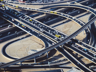 Aerial view of highway road intersections