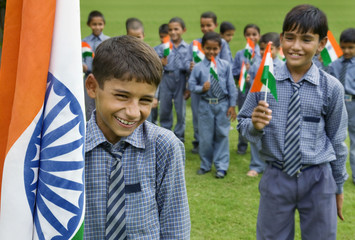 School kids celebrating Independence Day
