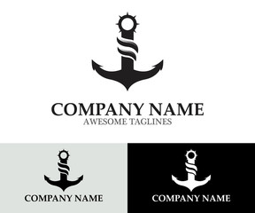 Anchor Sailing Logo Design Template Flat Style Design. Vector Illustration