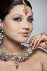 Beautiful woman wearing a necklace