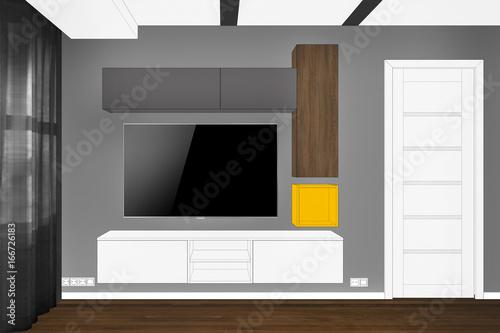 3D rendering  Modern living room interior  Modern creative TV