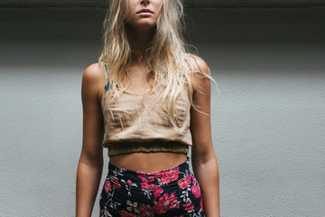 Blond Female Model Wearing Summer Fashion