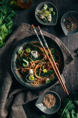 Soba noodles with turnip tops and sesame seeds