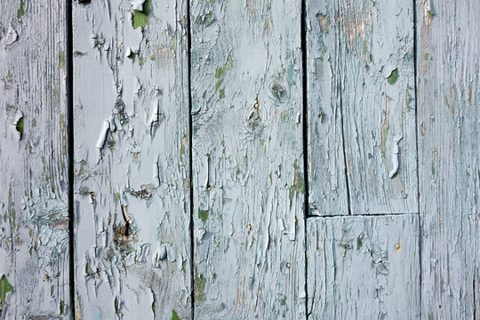 Section of Distressed Blue Wood Shed