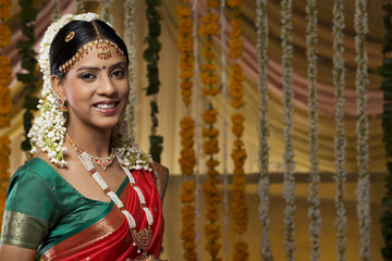 Portrait of a beautiful young bride smiling