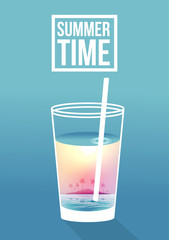 Cocktail with Tropical Scene in the Glass, Island - Vector Illustration