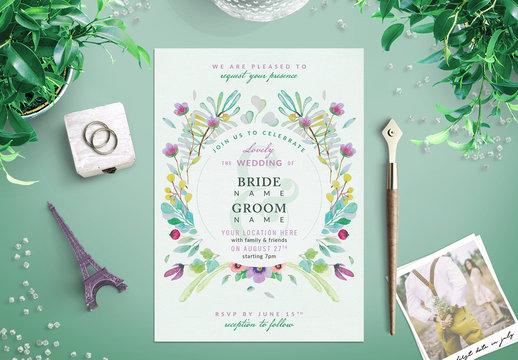 Watercolor Wildflower Wedding Invitation 4
