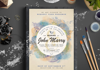 Watercolor and Foil Wedding Invitation 2