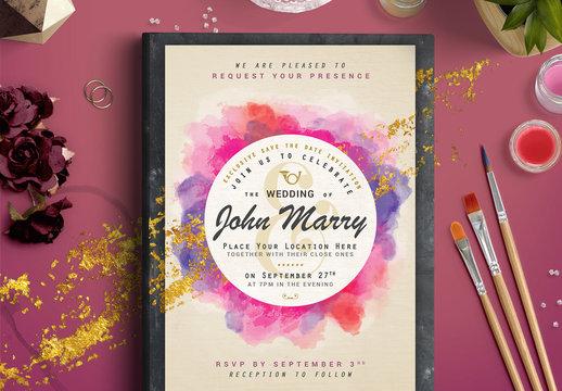 Watercolor and Foil Wedding Invitation 1