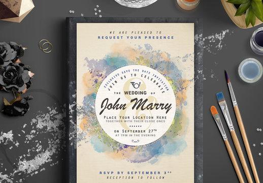 Watercolor and Foil Wedding Invitation 2