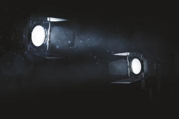 Two spotlights on smoky background