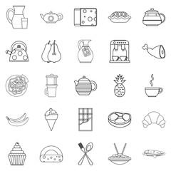 Feeding icons set, outline style