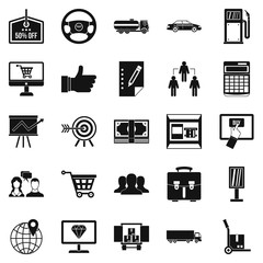Waste of money icons set, simple style