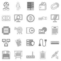 Clerk icons set, outline style