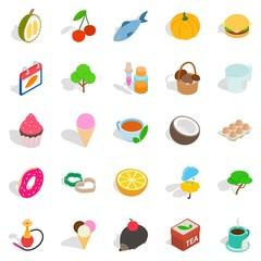 Fish day icons set, isometric style