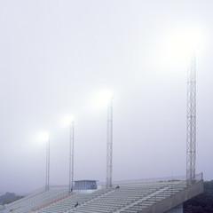 Stadium Bleachers In Th Fog
