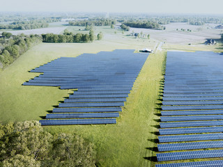 Aerial Photograph of a North Carolina Solar Farm in the early morning.